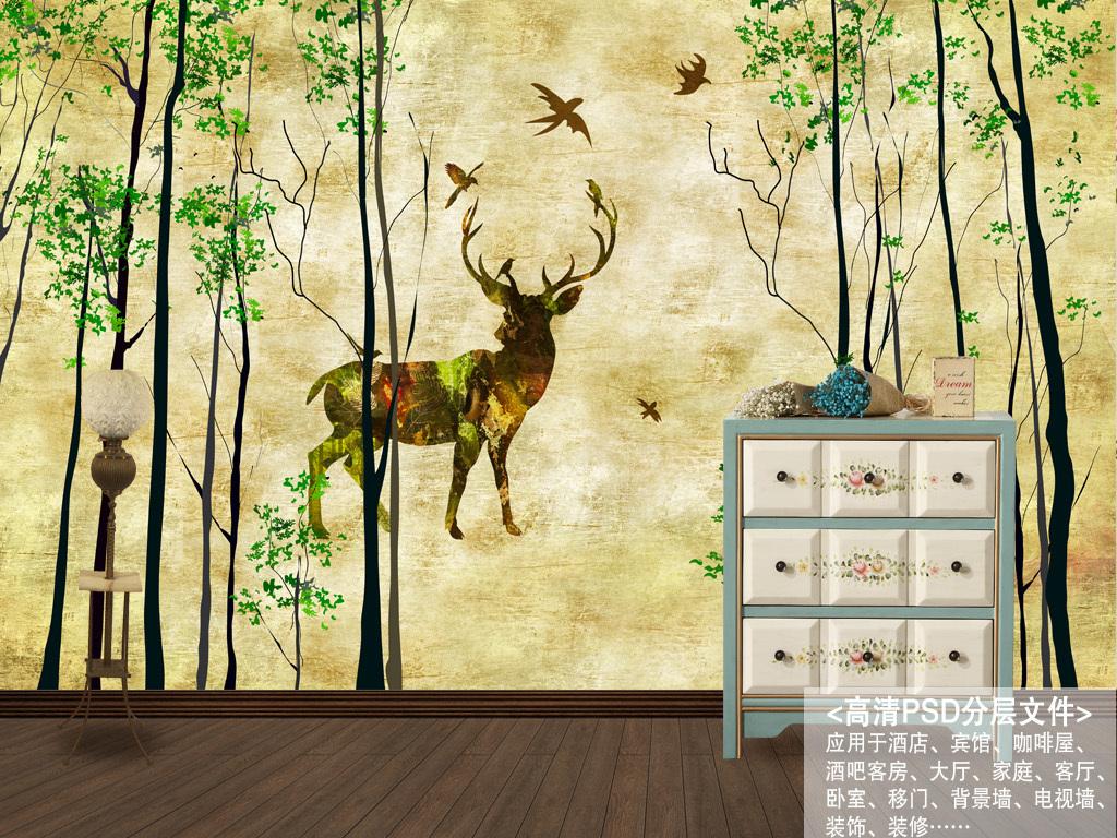 北欧素雅抽象手绘驯鹿森林背景墙装饰画