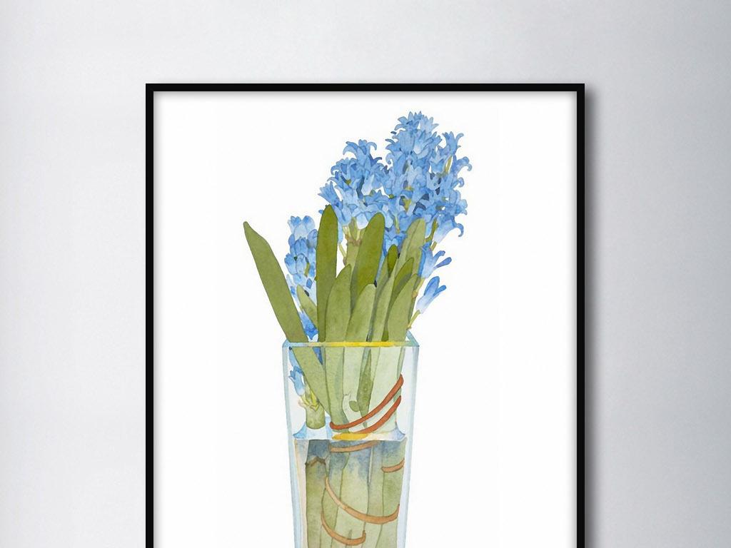 风信子欧式手绘小清新花卉北欧现代装饰画