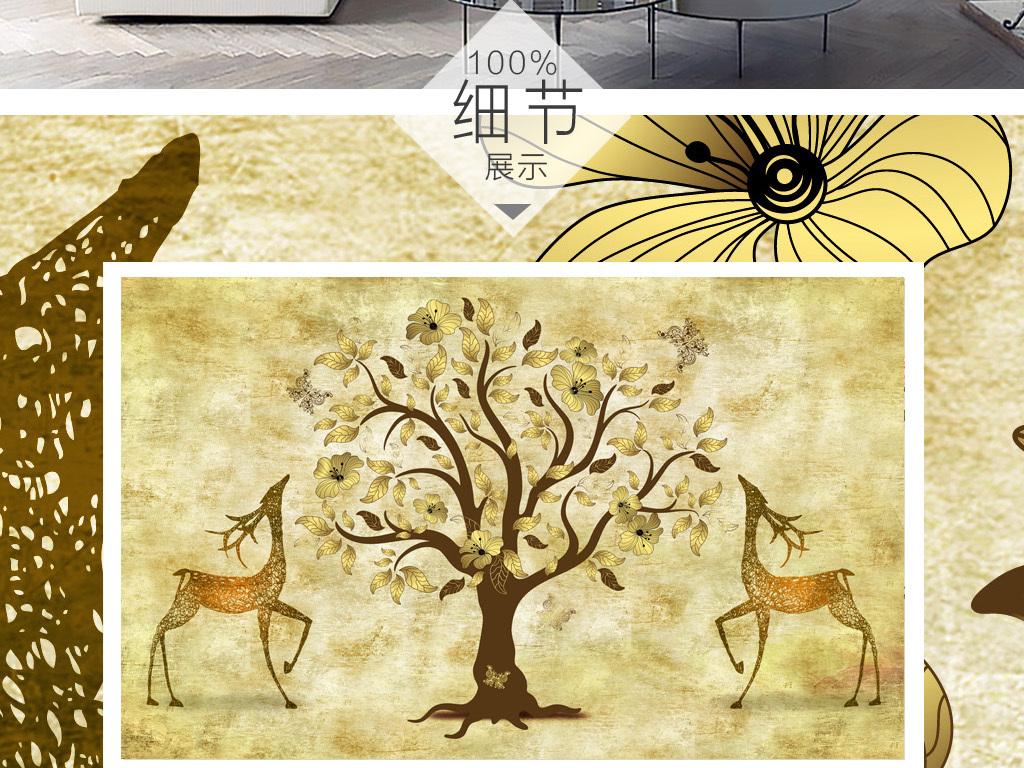 北欧素雅抽象手绘驯鹿树林背景墙装饰画