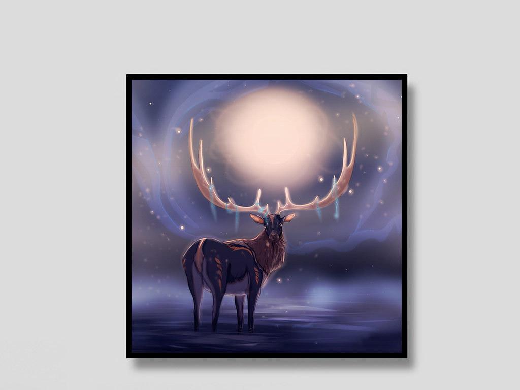 麋鹿创意夜色手绘欧式装饰画欧式创意手绘北景指北针