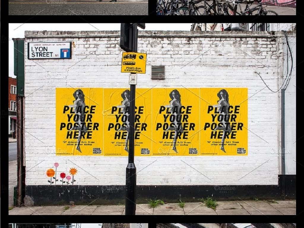 全套17款城市墙体海报户外广告牌样机图片