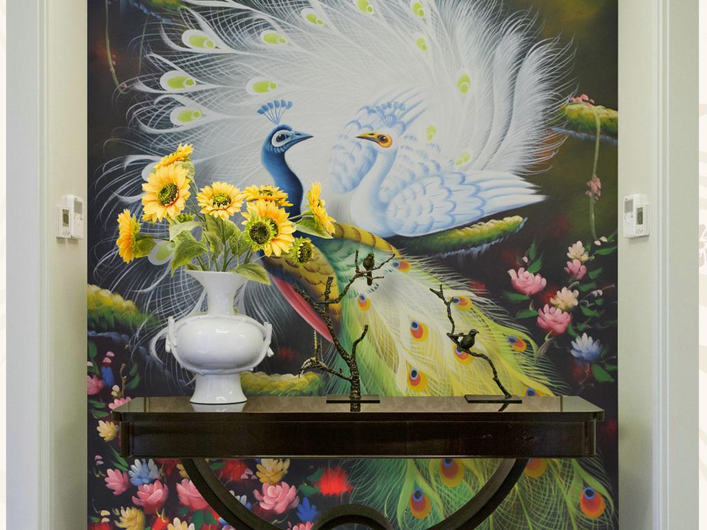背景墙|装饰画 玄关 油画|立体油画玄关 > 艺术孔雀纯手绘油画艺术