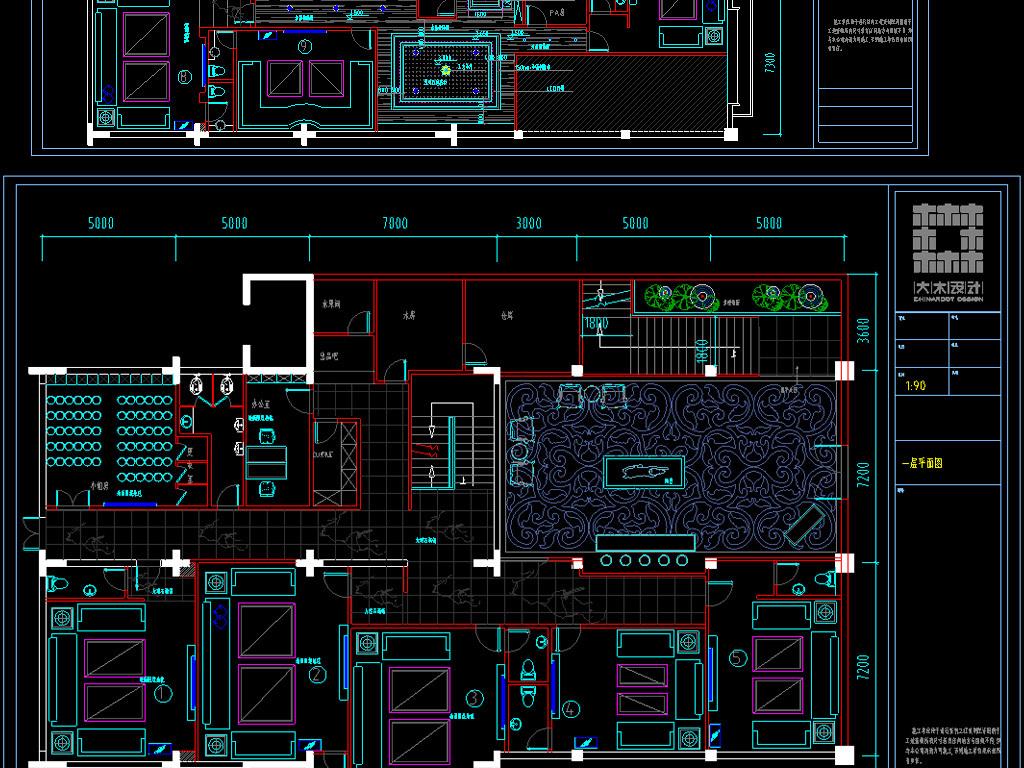 ktv娱乐会所cad装修图平面设计图下载(图片13.55mb)