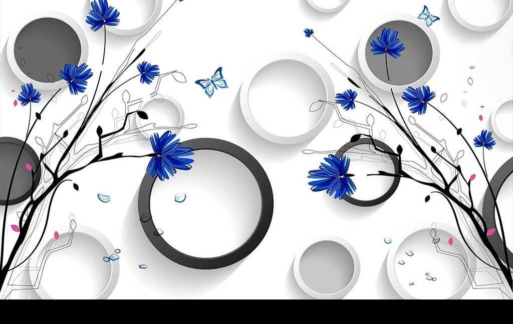 蓝色花朵手绘菊花黑白灰立体圆时尚背景墙
