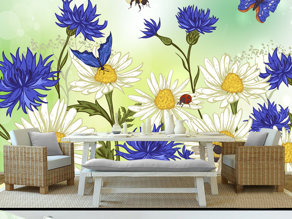 北欧淡雅手绘向日葵背景墙
