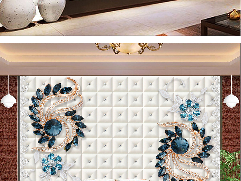 3d立体欧式皮雕珠宝背景墙