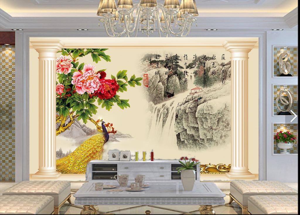 罗马柱中式山水牡丹孔雀欧式电视背景墙图片