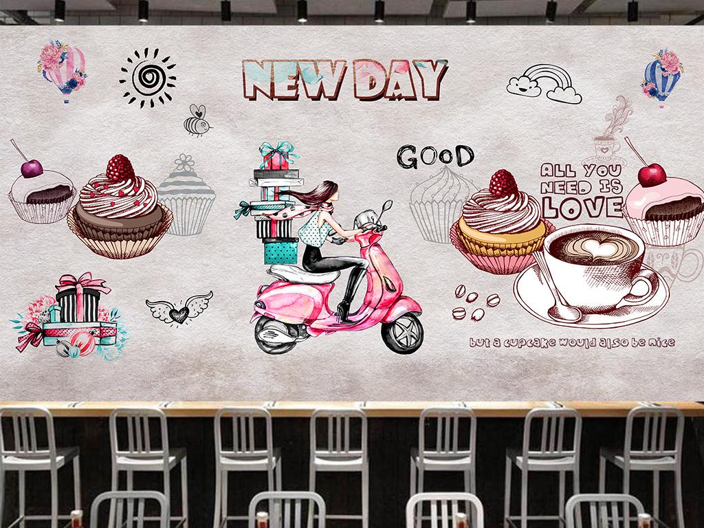 手绘水彩复古时尚甜品屋蛋糕店背景墙壁画