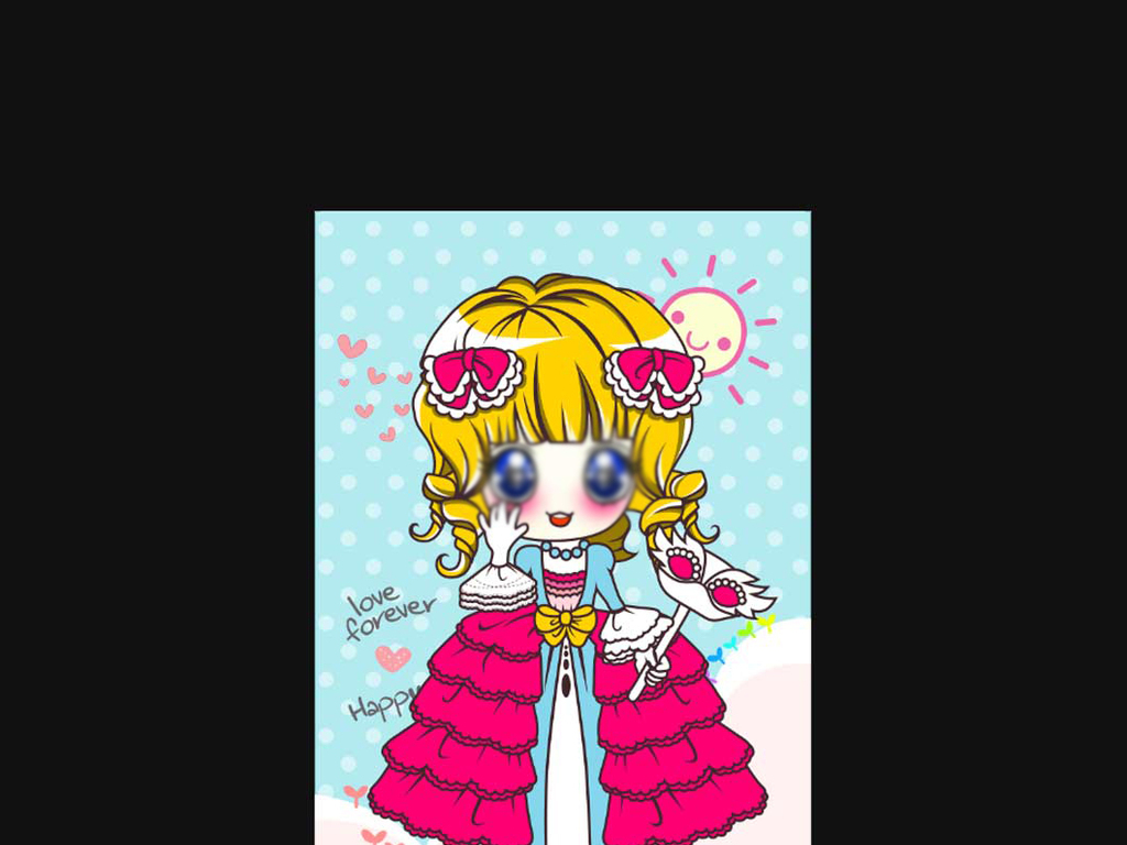 韩国卡通手绘涂鸦插画卡通形象卡通可爱书签草莓女孩