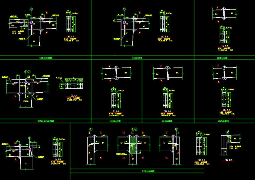 dwg)钢结构cad设计图钢格构柱钢结构大样图柱脚结构图cad节点cad节点