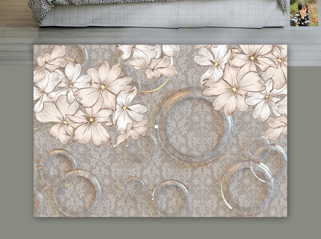 复古立体手绘花卉欧式花纹客厅背景墙