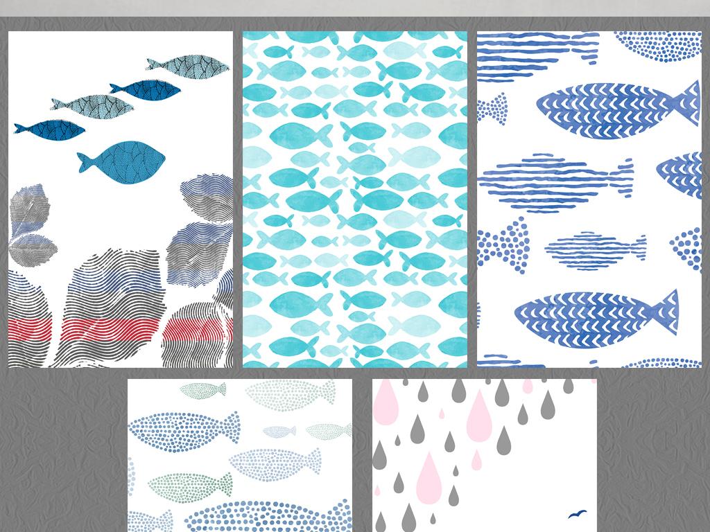 手绘卡通小清新日式鱼群简欧欧式花边欧式建筑欧式风格欧式油画欧式