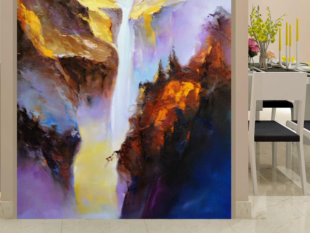 抽象油画山水艺术玄关图片