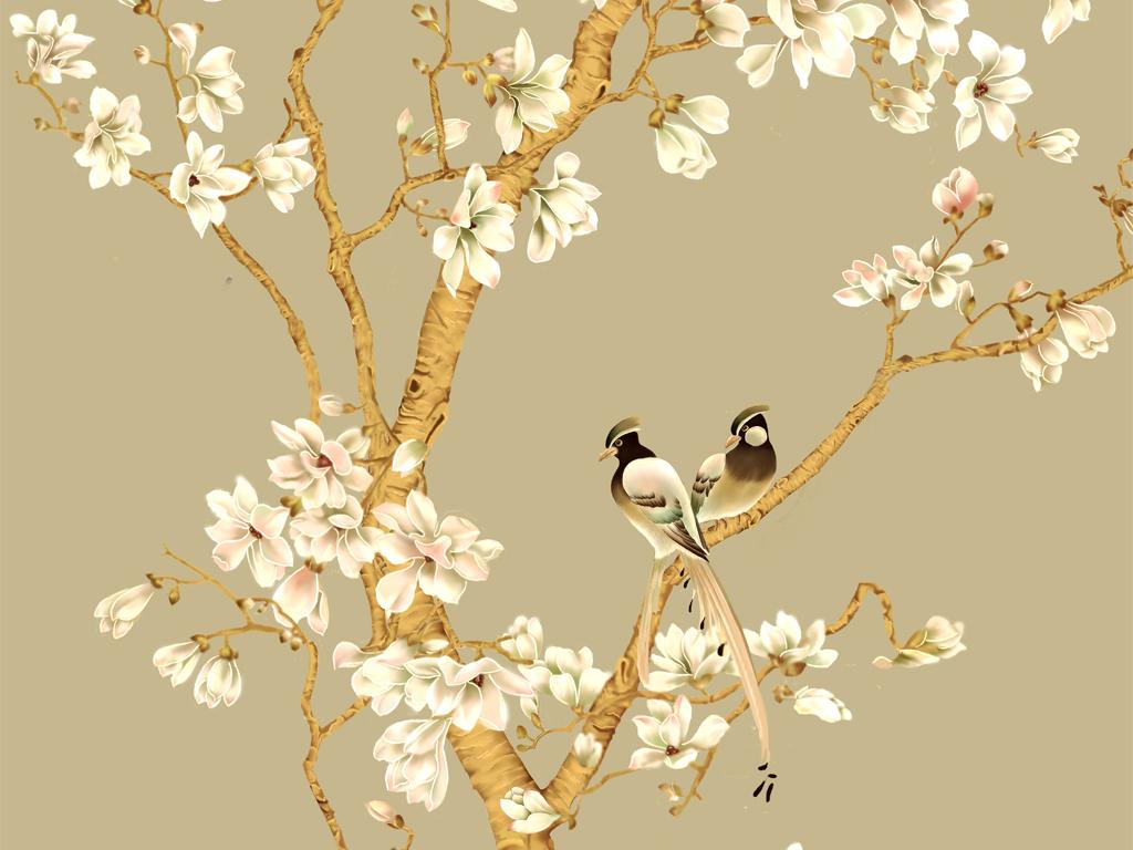 白玉兰新中式玄关手绘花鸟工笔中国画背景墙