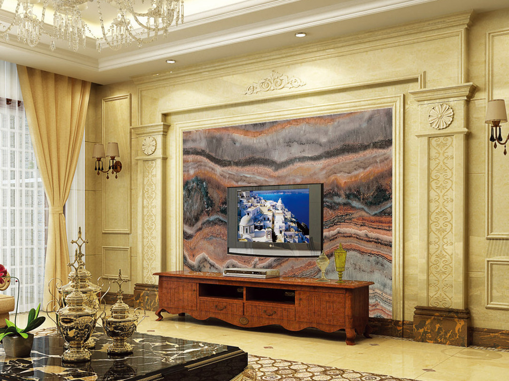 我图网提供精品流行大理石纹客厅电视瓷砖背景墙