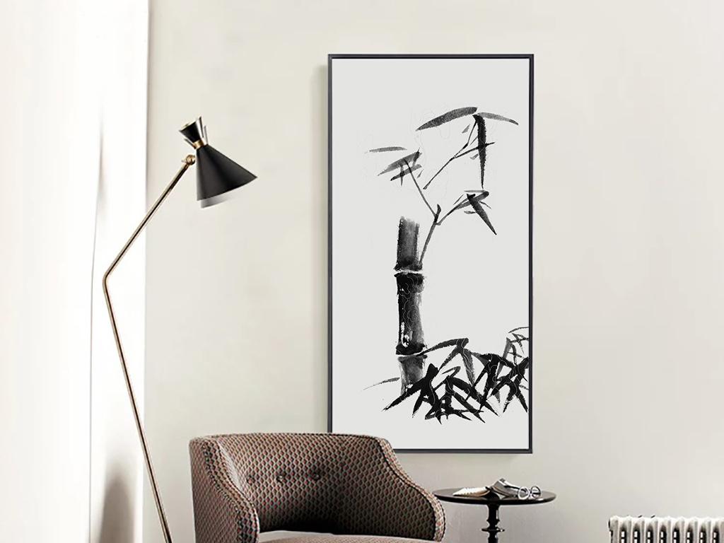 新中式水墨竹子客厅装饰画长方形无框画图片
