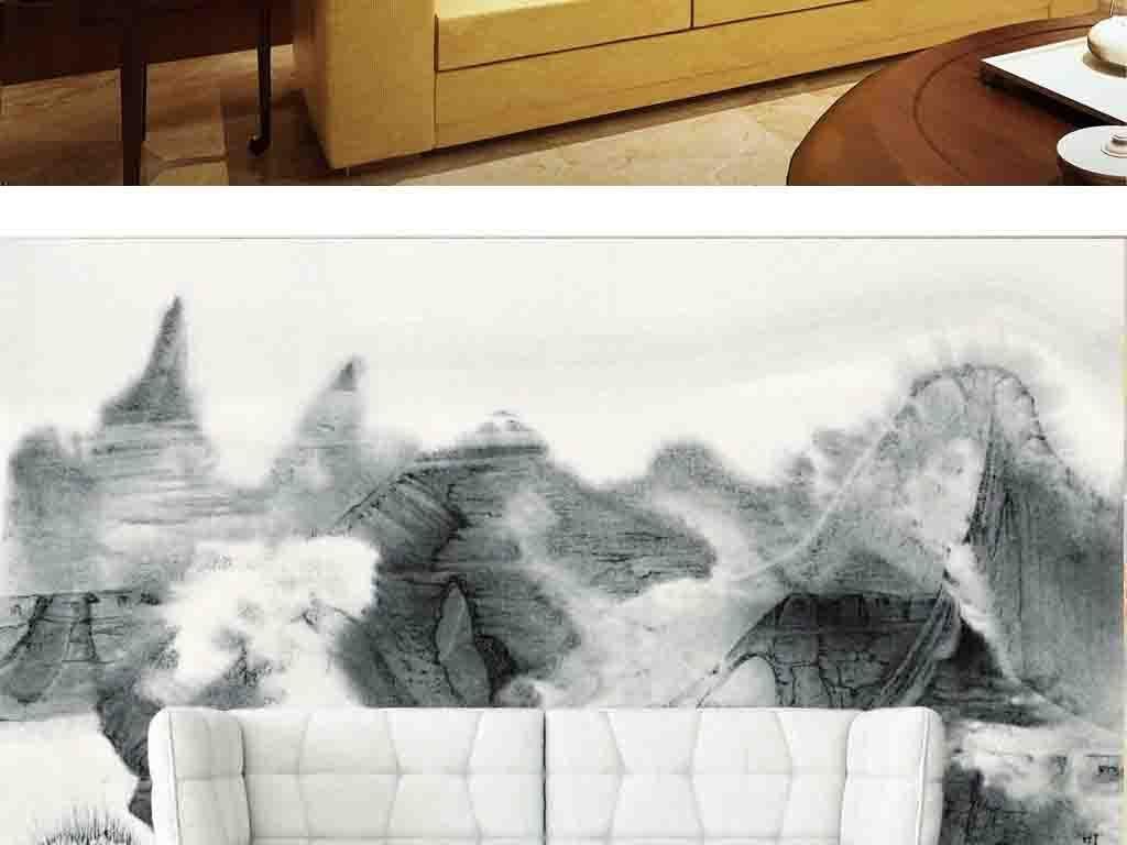 画群山山峰山水瀑布抽象中式抽象水墨电视背景抽象背景水墨抽象中式图片