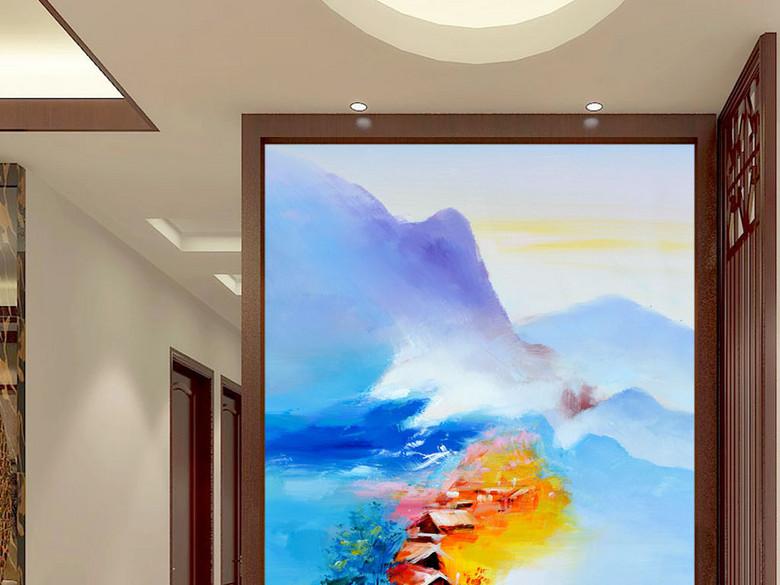 抽象海边山水画艺术玄关