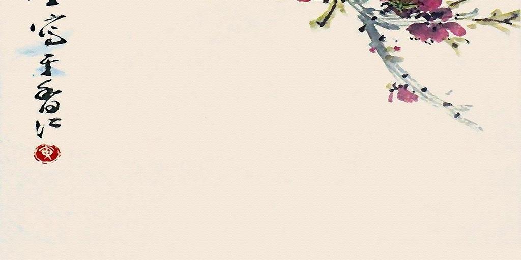 高清水彩复古花鸟玄关背景墙