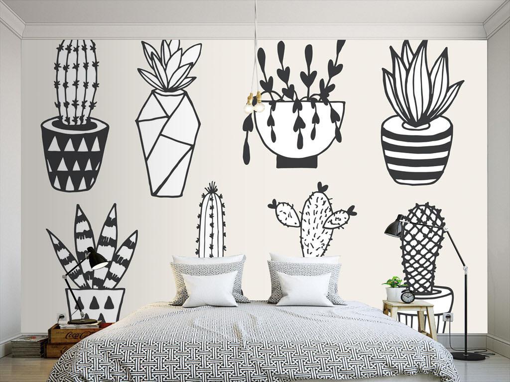 现代简约黑白手绘仙人球墙纸