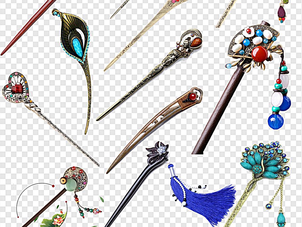 png)古风簪子手绘簪子中国风簪子玉簪子金色簪子蓝色