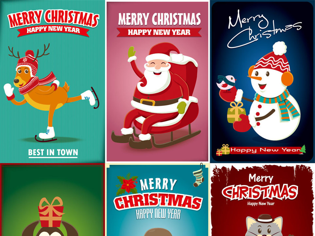 手绘创意圣诞节动物海报图片