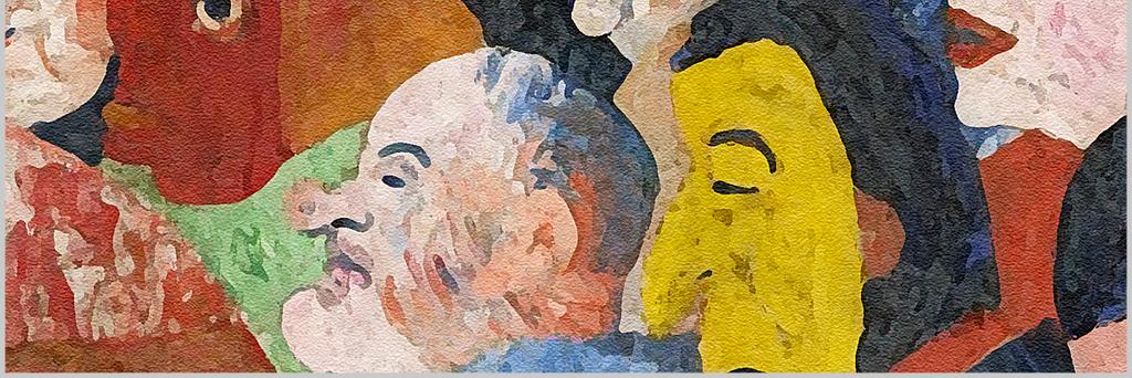 高清手绘人物剪影欧美抽象芭蕾舞蹈人物油画