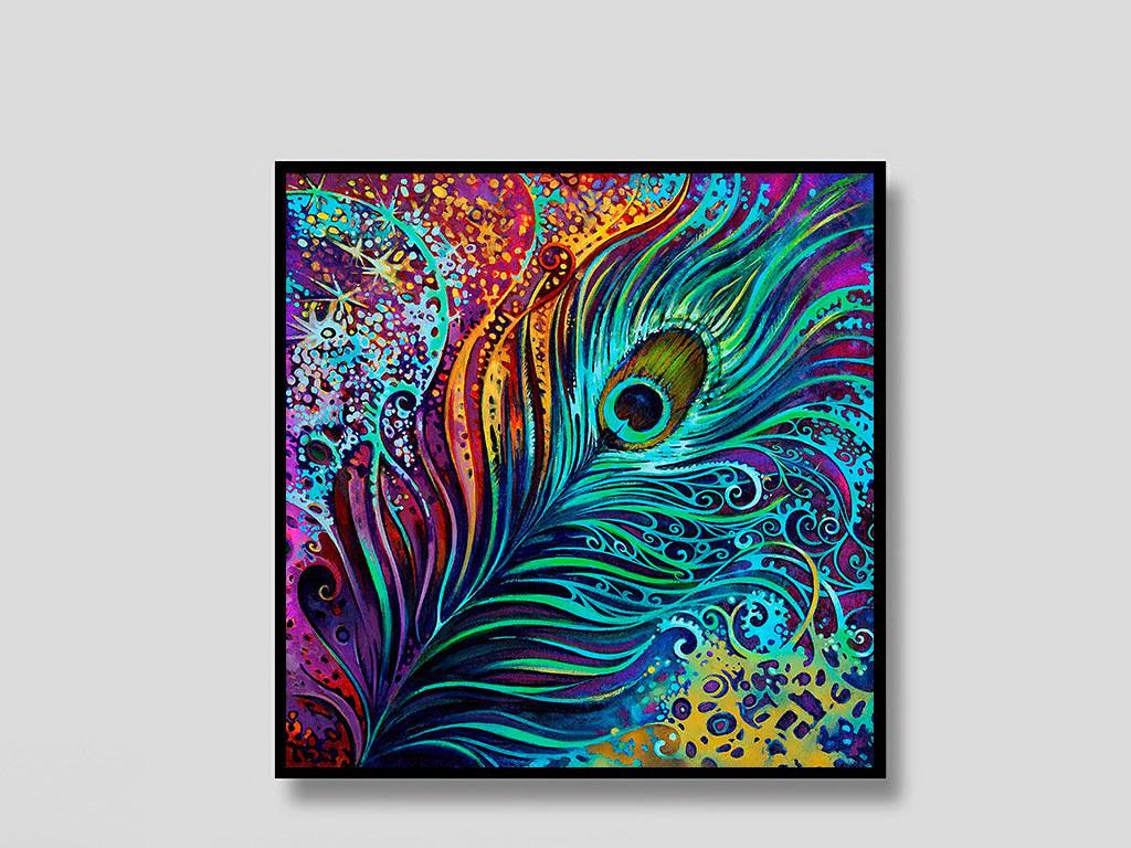 欧式手绘彩色孔雀羽毛无框装饰画