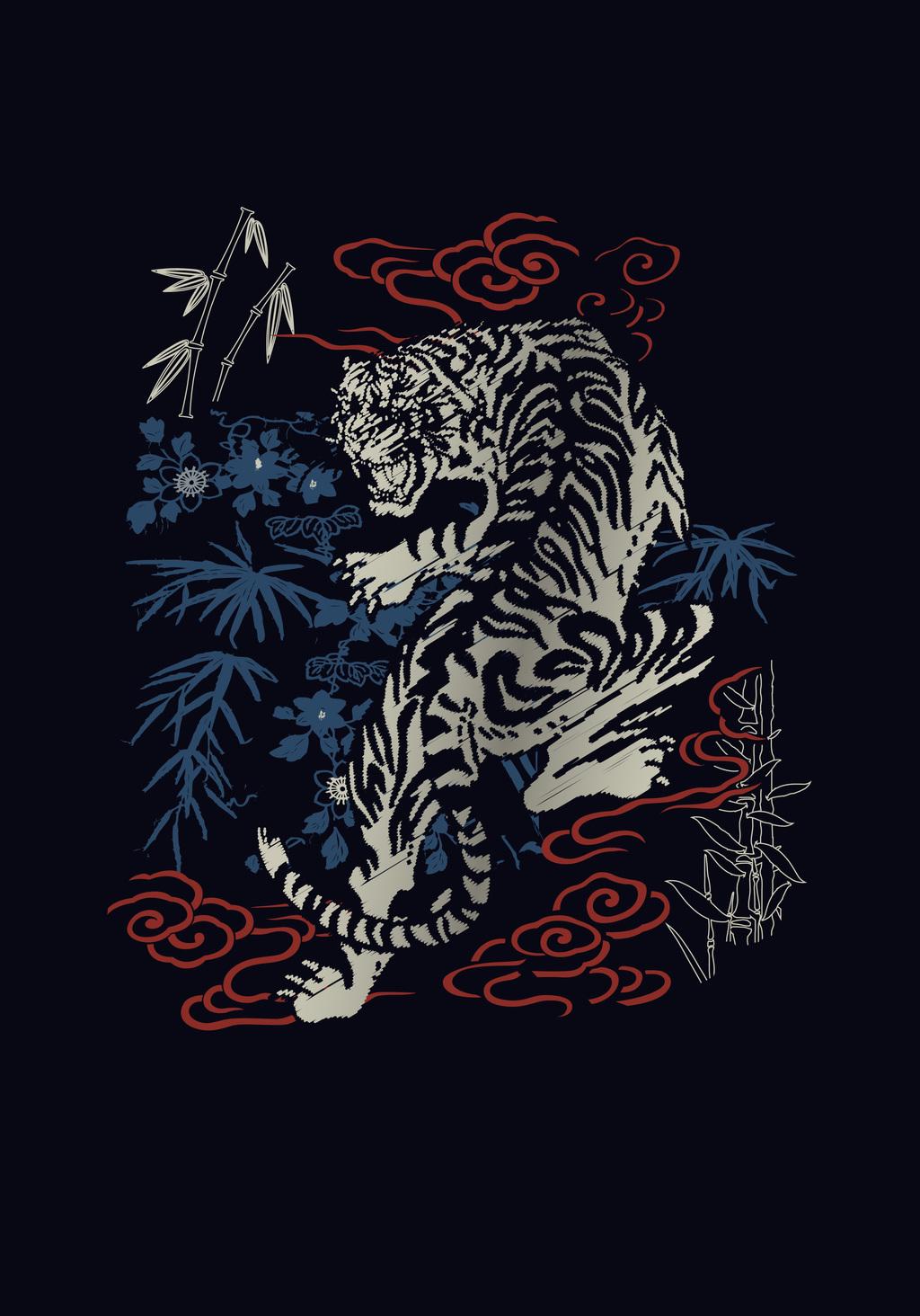 原创设计卡通动物卡通图案科技感插画t恤图案老虎