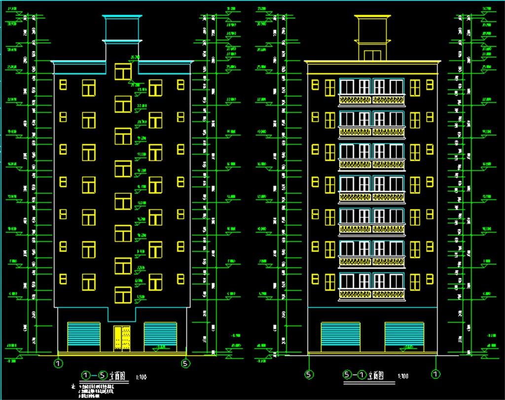 建房cad设计民房现代住宅cad建筑建筑施工设计图建房