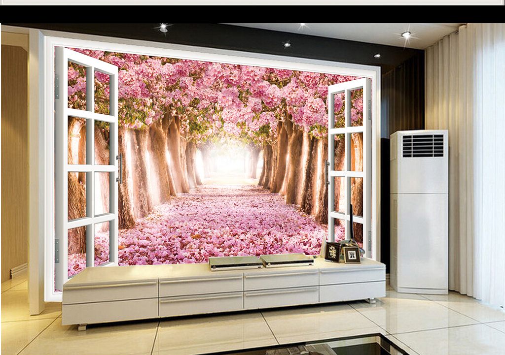 3d樱花花海窗户扩空间电视背景墙