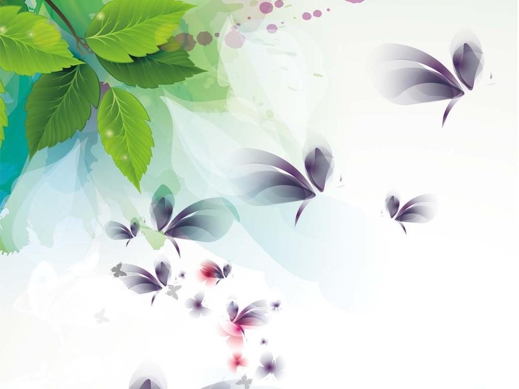 现代简约小清新绿叶蝴蝶玄关图片