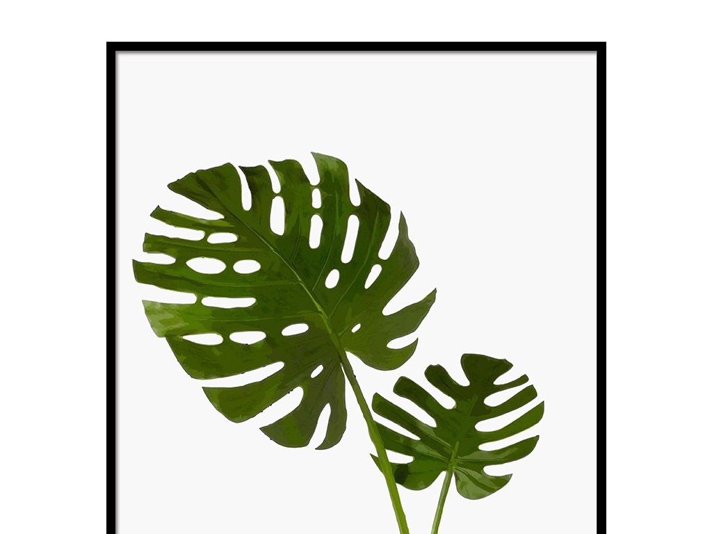 北欧风格绿色植物无框装饰画