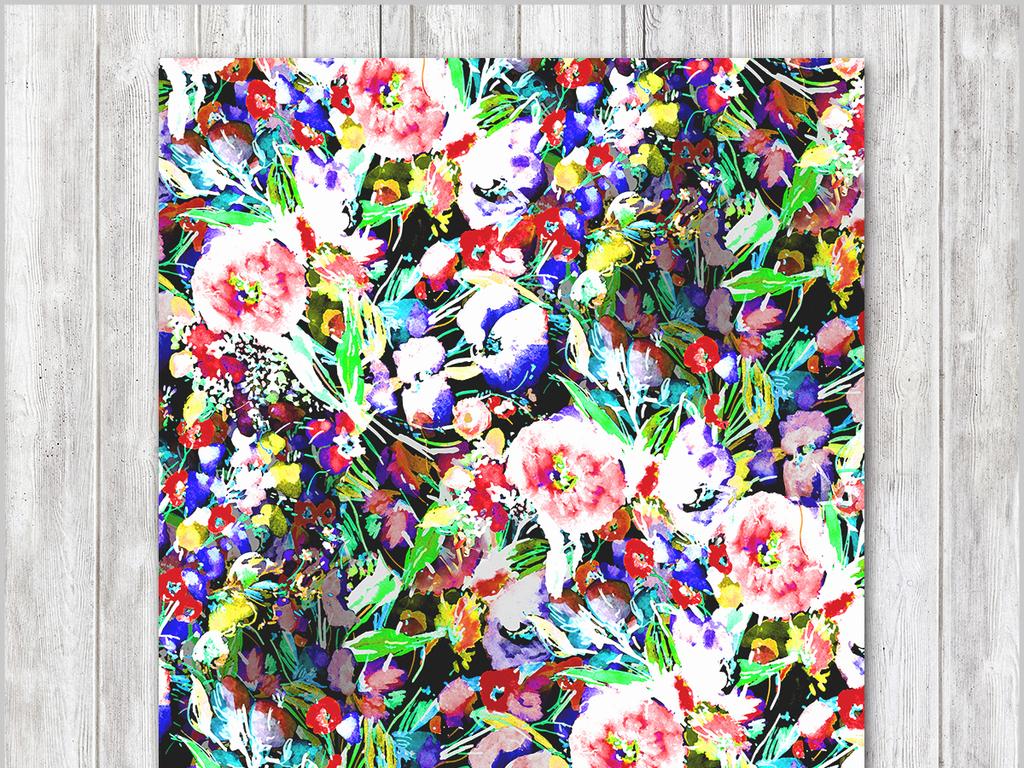 现代简约手绘美克美家水彩花卉装饰画