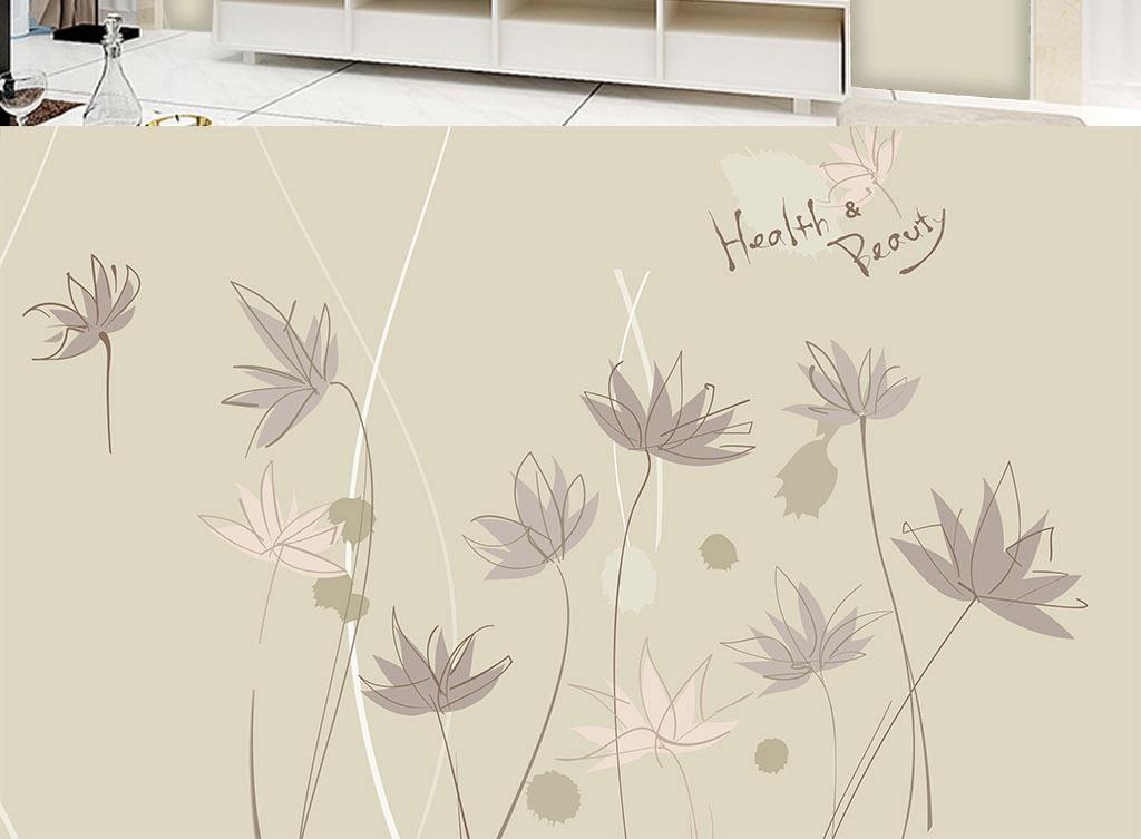 简约唯美手绘荷花艺术背景墙