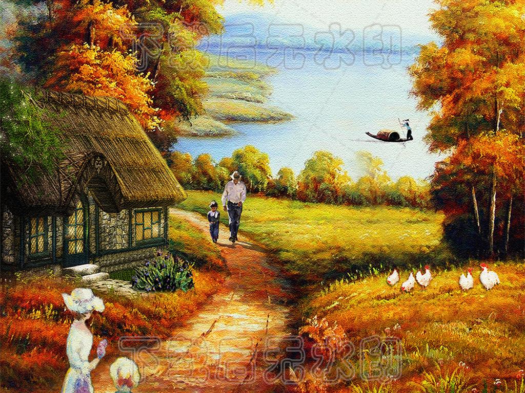 田园风景油画图片