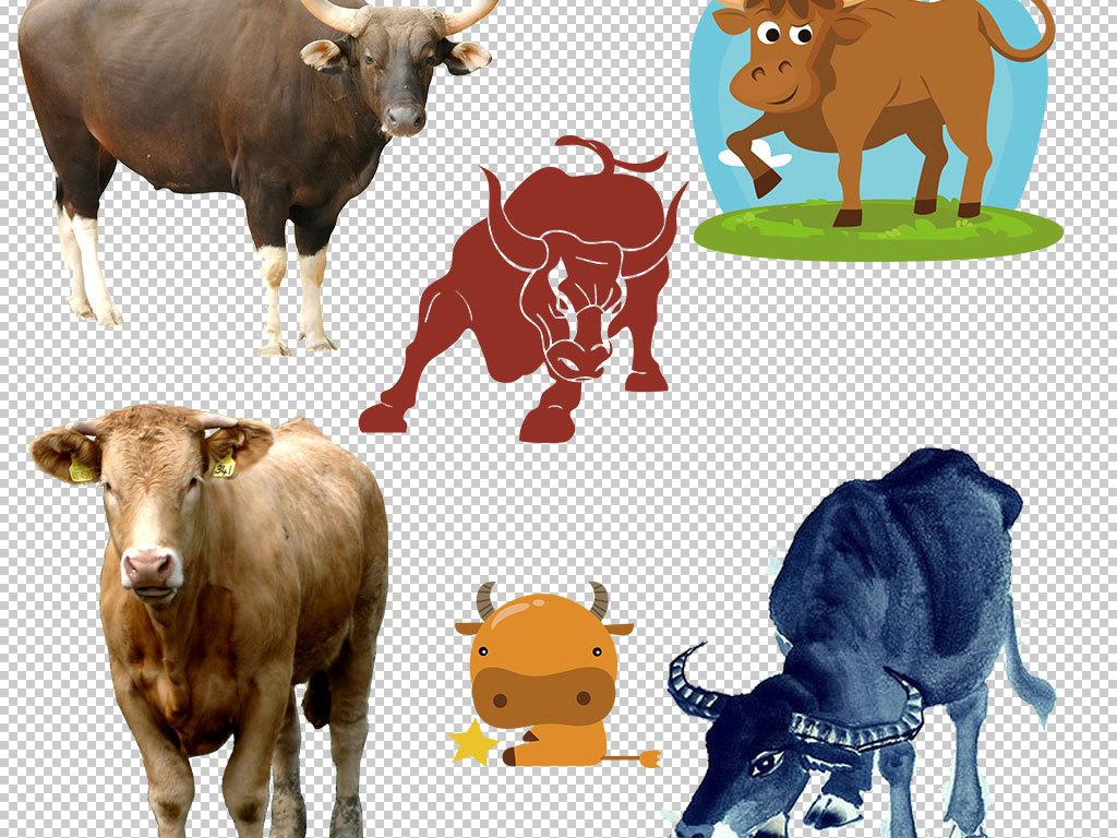 卡通黄牛动物图片海报素材