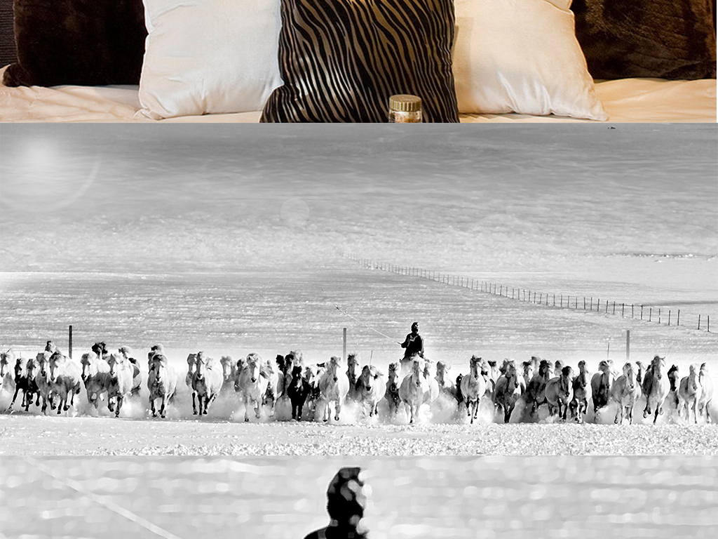 装饰画 北欧装饰画 动物装饰画 > 北欧简约手绘黑白万马奔腾海边风景