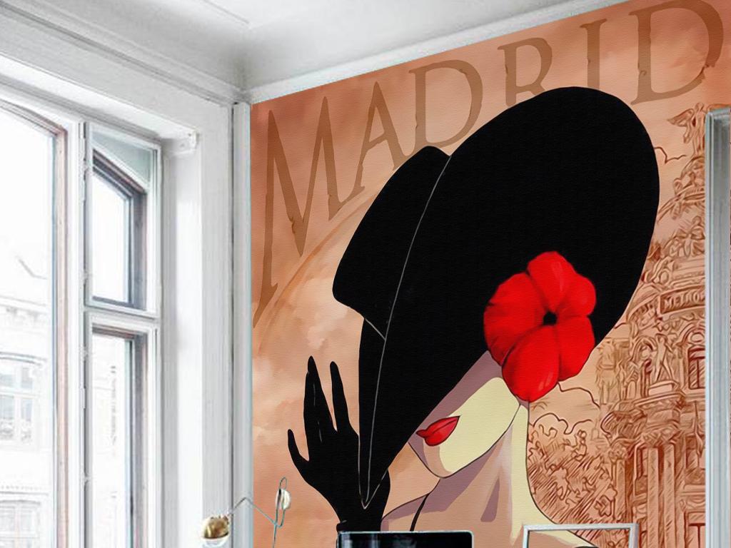 欧式复古怀旧巴黎戴礼帽女人玄关壁画装饰画