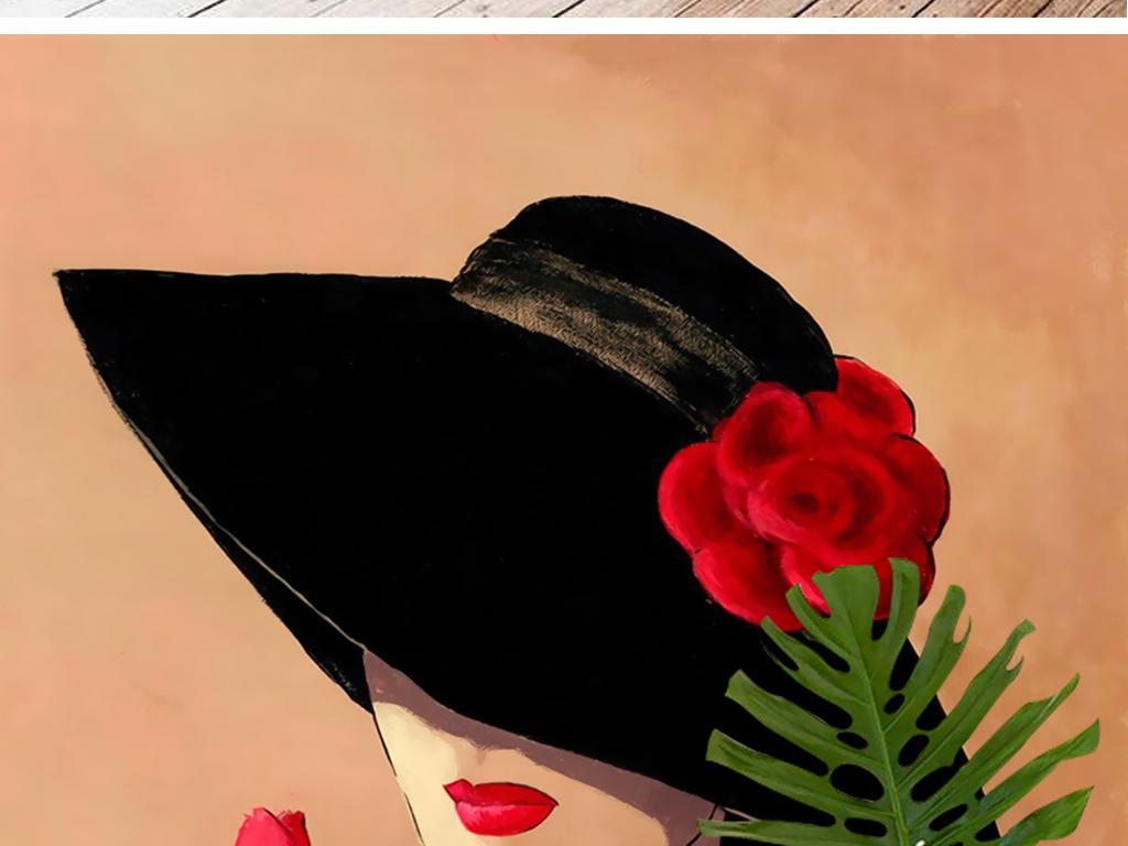 欧式复古怀旧手绘玫瑰戴礼帽女人壁画装饰画 位图, rgb格式高清大图