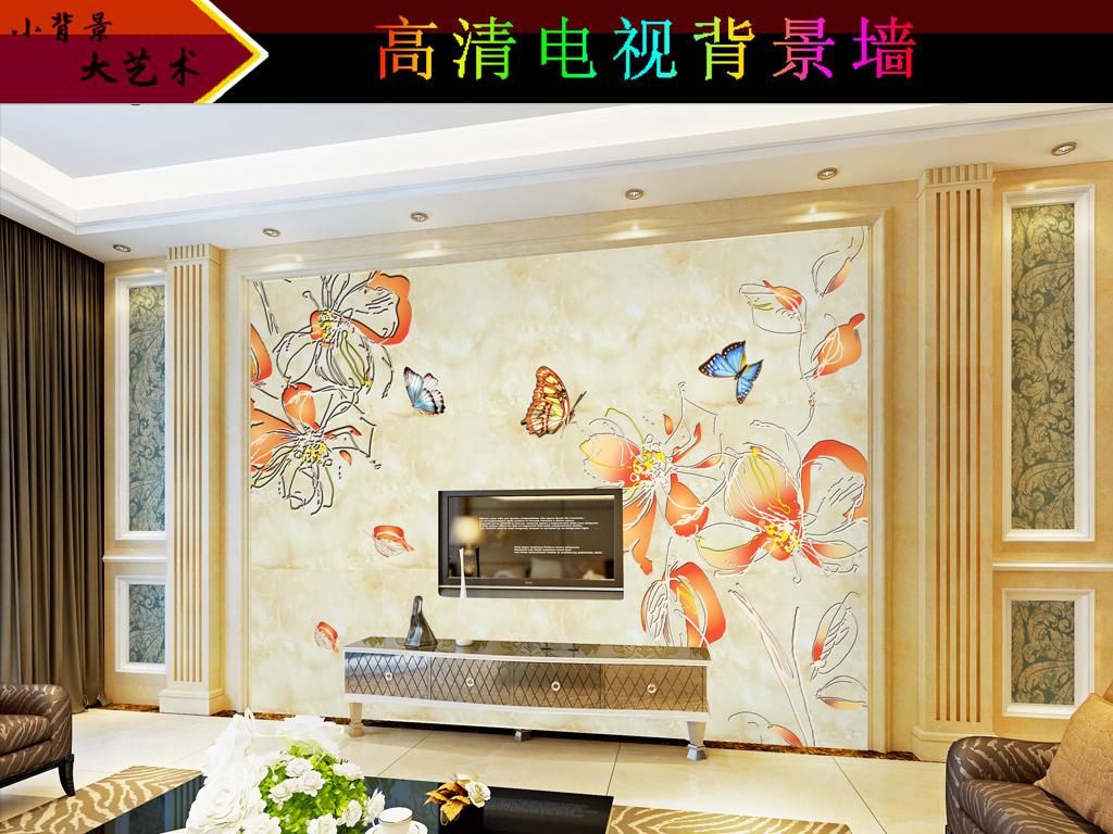 客厅装饰画手绘花卉复古手绘手绘背景花卉背景花卉手绘精美背景古典美