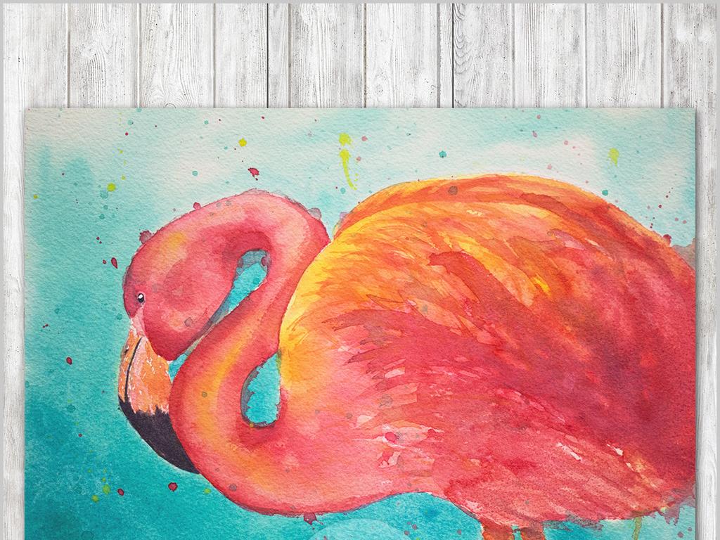 现代简约手绘欧式田园火烈鸟水彩画装饰画