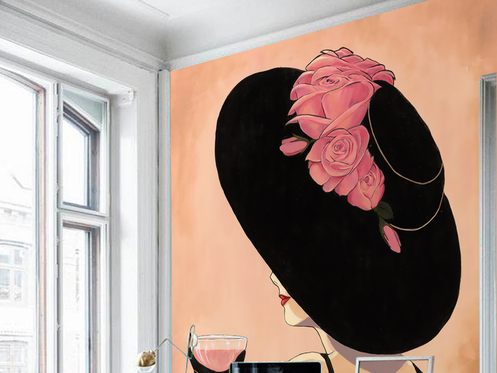 欧式复古怀旧手绘戴礼帽女人玄关壁画装饰画 位图, rgb格式高清大图