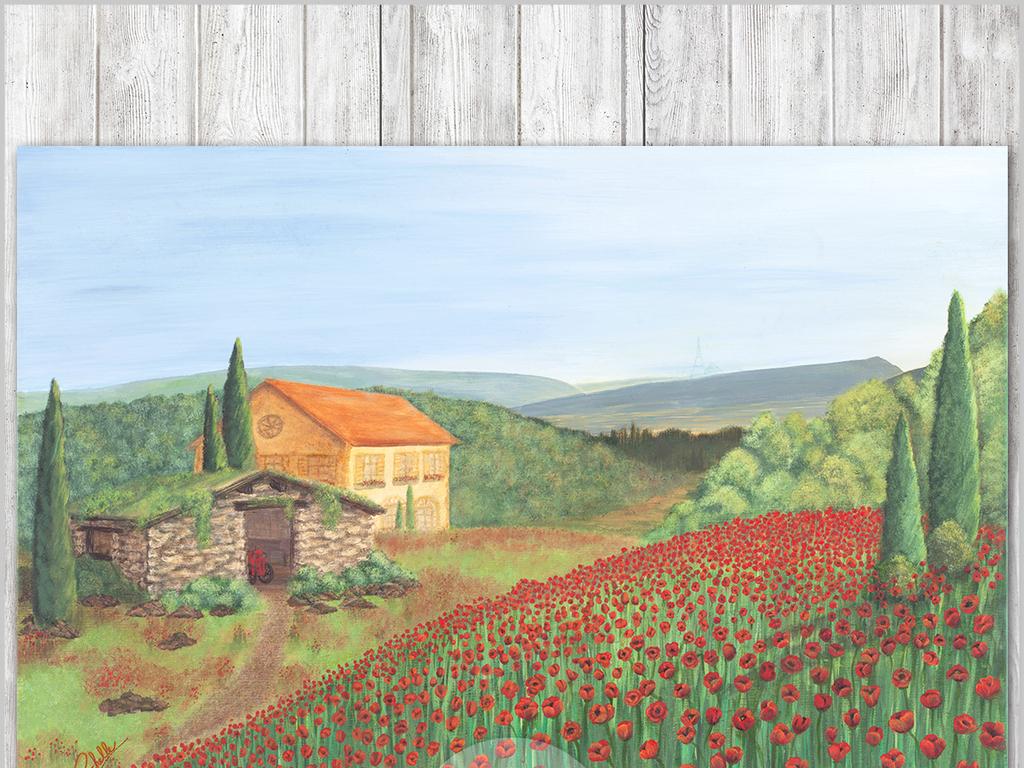 油画乡村田园风景画手绘欧式唯美欧式装饰画欧式唯美