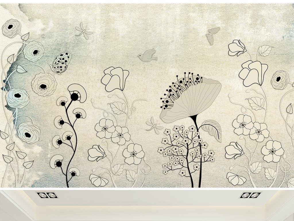 复古布纹欧式手绘花纹电视背景