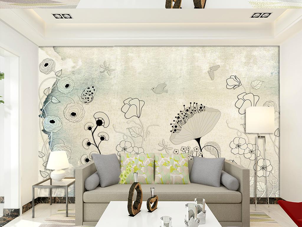 背景墙|装饰画 电视背景墙 欧式电视背景墙 > 复古布纹欧式手绘花纹电