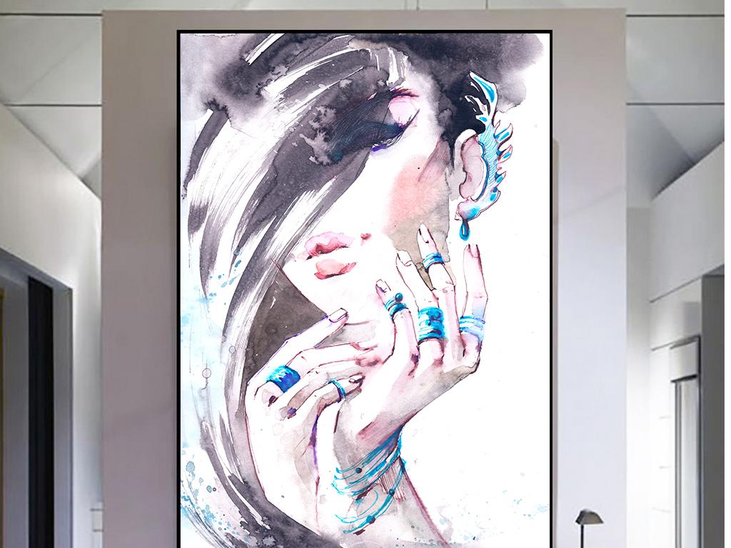 现代手绘抽象美女水彩泼墨画背景无框画