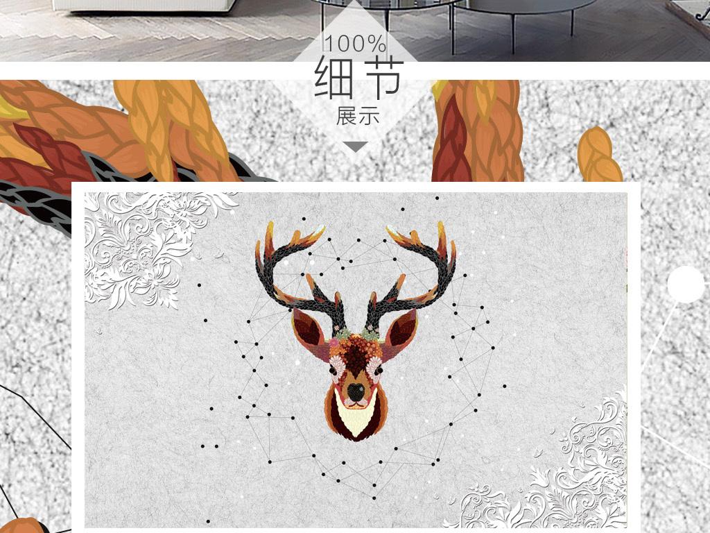 北欧素雅抽象手绘驯鹿背景墙装饰画
