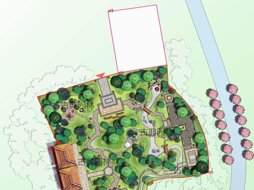 自然园林平面手绘图