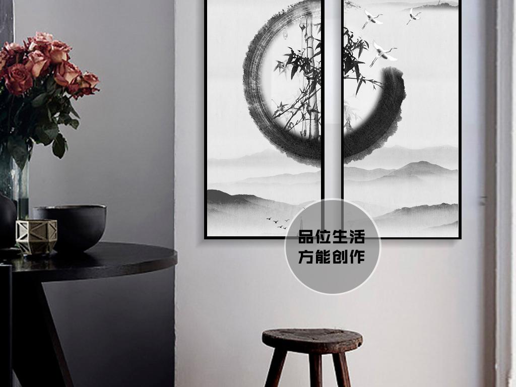 客厅书房手绘现代简约极简花鸟山水竹子四君子油画无